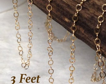 Gold Filled Flat Chain - 14kt Gold Filled Cable Chain  2mm x 1.5mm -- 3 Feet -  CH14