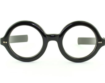 Vintage Deadstock 60's Round Optique Magnifique Eyeglass Frames France in Black - FREE Domestic Shipping