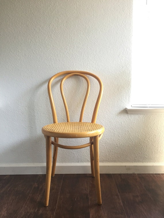 Vintage Thonet Style Cane Bamboo Dining Chair Bentwood