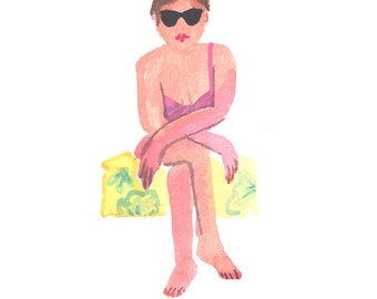 Sunglasses- Gouache Painting-Art print