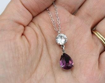 Purple Bridesmaid Jewelry Swarovski Crystal Amethyst Necklaces Purple Necklaces Crystal Necklace Pear Shaped Silver Wedding Jewelry
