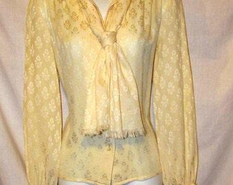 Vintage CELINE Paris Cream Patterned Silk Blouse. France sz 40