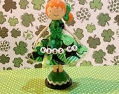 St Patty's Girl Redhead Miniature Wooden Clothespin Doll