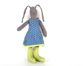 Stuffed bunny toy , plush black rabbit doll ,handmade stuffed bunny ,in navy blue & green stockings ,plush hare rabbit bunny softie toy
