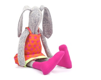 Stuffed Easter bunny doll - knitted silk rabbit hare plush doll , in rusty orange dotted dress & pink Fuchsia socks - timohandmade eco doll