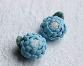 Blue Hydrangea Stud Earrings ... Powder Blue Flower Bud Post Earrings