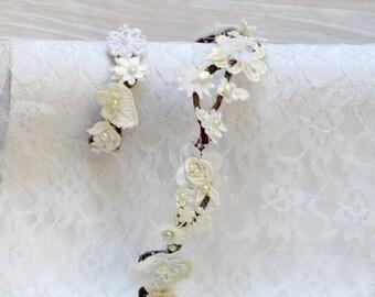 Bridal hair piece and wrist corsage bracelet wedding set, bridal hair crown and lace bracelet, rustic flower crown, rustic cuff bracelet