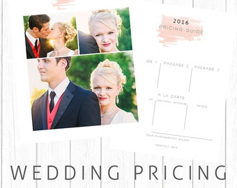 Wedding Pricing Guide 5x7 PS Template Watercolor in Coral Instant Download