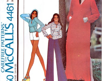 McCall's 4461 Vintage 70s Sewing Pattern by Marlo's Corner for Misses' Dress or Top and Pants or Shorts - Size 8 - Bust 31.5