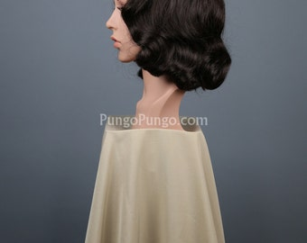 Brown Wig / Marcel Finger Wave Curly /Retro Pinup Girl Drag Queen Agent Carter Steampunk Clothing Gatsby Costume Cosplay Outlander Halloween
