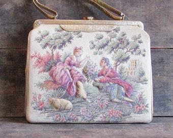 Vintage 1960's Baroque Tapestry Purse | puffy 3d character handbag | Soré Bag, New York