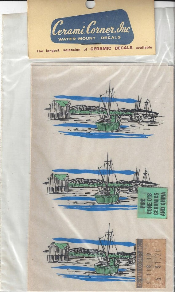 Vintage cerami corner fishing village decals 1970s from for Telephone mural 1970
