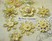 Light Yellow and Ivory Handmade Paper Embellishments and Paper Flowers for Scrapbook Layouts Cards Mini Albums Tags and Papercrafts