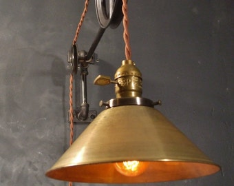 Vintage Industrial Pulley Light   Brass Cone Shade   Industrial Pulley Lamp    Wall Mount Light