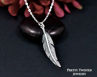 Sterling Silver Feather Necklace, Feather Jewelry, Boho Necklace, Bohemian Necklace, Boho Jewelry, Bohemian Jewelry, Best Friend Necklace
