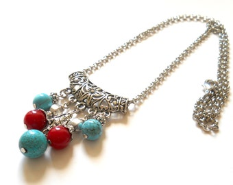 bohemian necklace gypsy necklace boho necklace turquoise necklace gemstone necklace stone jewelry bohemian jewelry turquoise and red