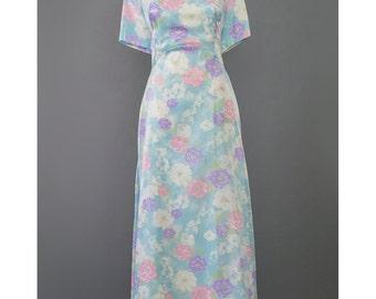Vintage 60s Evening Gown Party Dress Light Blue Floral Dress Long Formal Dress 1960s Maxi Dress Floral Print Organza Dress XL Plus Size