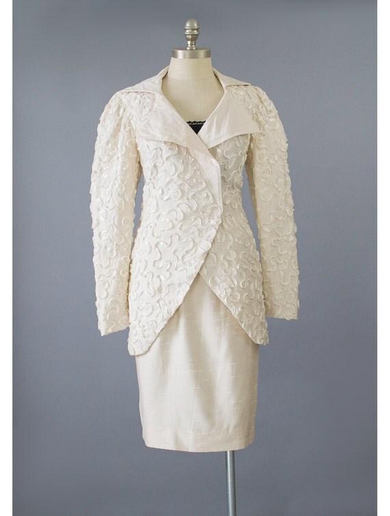 SALE - Vintage Lorrie Kabala Formal Suit 80 Suit Pearl Beaded Suit Ivory Skirt Suit Embellished Cream Suit Two Piece 1980s Wedding Suit