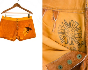 Vintage 1970's Every Mother's Son Leather Shorts Hippie/ Woodstock/ Boho with Fall Leaves Snap Buttons Women's 30-31 Inch LOWRISE