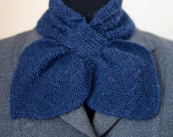 40s style knitted alpaca bow scarf, blueberry blue