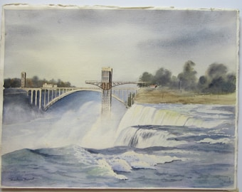 "Signed Original Watercolor of Dam and Waterfall - Unframed Painting by Barbara Ann Burnett - 22"" x 17"""
