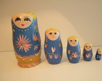 Blue with Pink Flowers and Gold Sparkles - Blonde Girl Nesting Dolls - Set of Five Matryoshka