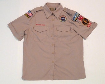 Boy Scouts of America Shirt Trained Den Leader Top Oklahoma Womens Large Last Frontier Council of Oklahoma Cub Scout Den 5 Troop 27 US Flag