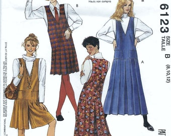 McCall's 6123 Misses 90s Jumper and Split-Skirt Jumper (jumpsuit) in Two Lengths Sewing Pattern Bust 31 32 34