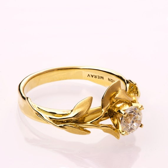 Leaves Engagement Ring 14K Gold and Diamond engagement ring