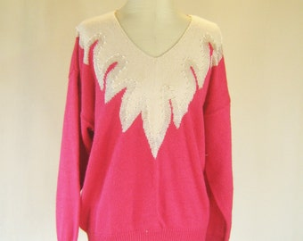 1980s Pink & White Pearly Sweater Top