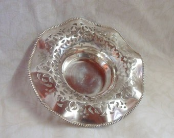 "Antique Sterling Silver filigree Nut Candy Dish 5.5"" x 1.25"""
