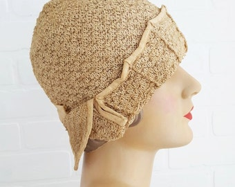 1920s Ecru Cloche Hat