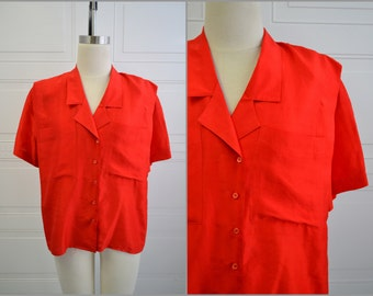 1980s Red Silk Blouse