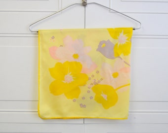 1960s Yellow Floral Silk Scarf