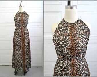 1960s Vanity Fair Leopard Print Nightgown
