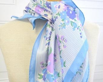 1960s Blue Floral Scarf