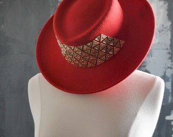 Red Embellished Cowboy Hat; Studded Cowboy  Hat - 100% Wool, Made in the USA