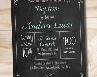Chalkboard Blackboard Baptism Invitation, Christening Invitation, Communion Invitation - Printable digital file or printed invitations