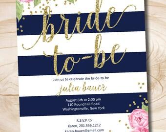 Floral Gold Glitter Confetti Navy Stripe Bridal Shower Invitation, Confetti Glitter Printable digital file or printed invitations