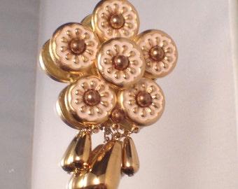 Huge Vintage Enamel Flower Brooch Gem Craft Retro Statement Brooch
