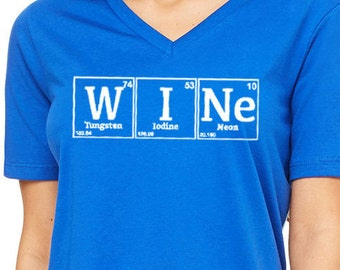 Funny Wine Shirt, Wine Periodic Table, Women's Relaxed V-Neck, Wine Tasting, Festival, Birthday Gift, Christmas Gift, Bachelorette Party