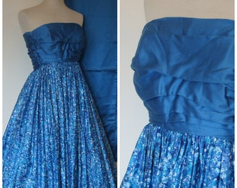 REDUCED - HORROCKSES Fashions 1950s Cocktail Dress / 50s Strapless Evening Dress / Matching Stole / Blue Floral Cotton / XS Extra Small