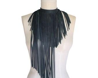 Leather fringe choker - Asymmetrical fringe necklace - Fringe scarf - Leather scarf - Punk choker - Goth fashion - Burning man - Festival