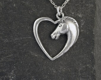 Sterling Silver Horse Lovers Pendant on a Sterling Silver Chain