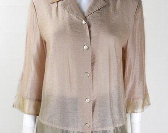 Original Vintage 1980s Goldtone Blouse UK Size 12/14