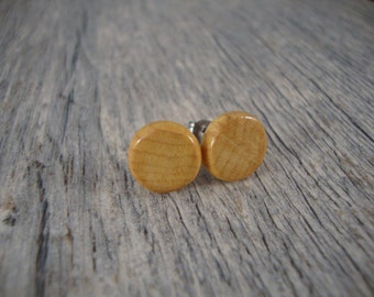 Wooden Round Stud Earrings - Men's Post Earrings - Natural Maple Wood - Natural and Eco Friendly Jewelry