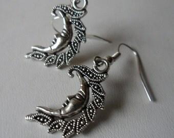 Crescent Moon Earrings! Fancy Crescent Moon Earrings! Tibetan Silver Moons! Tibetan Silver Ear Wires! Very Nice Moon Earrings! On Sale Now!