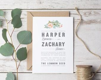 Succulent Modern Wedding Invitation Template Printable Rustic - Set Suite watercolor boho Hipster Casual Vintage, Modern DIY (1122)