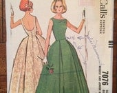 7076 1960's Wedding Dress Prom Dress Vintage Sewing Pattern McCall's 7076 Bust 36