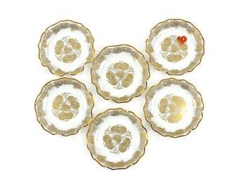 Ruffled Crystal Bowls - SET of 6 Bowls, Dessert/Fruit Bowls, 24 Kt. Gold Roses, Flamingo Crystal, Made in Holland, c.1950s